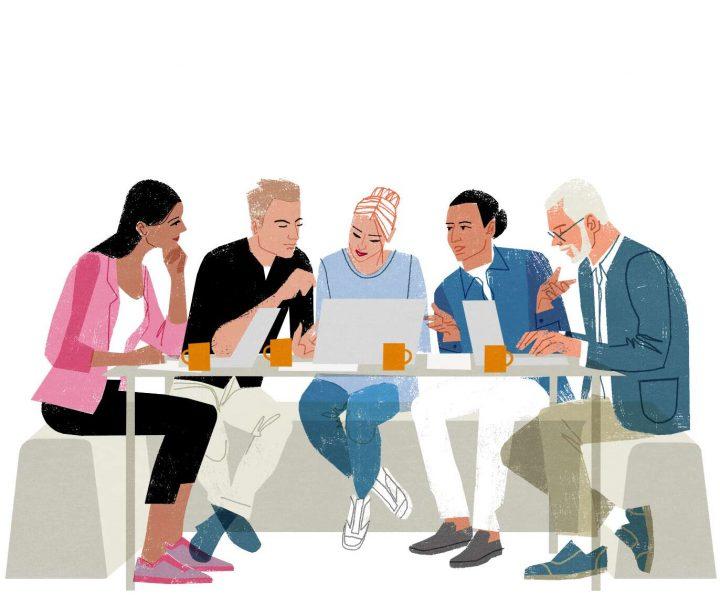 Illustrerad bild på grupp som arbetar.