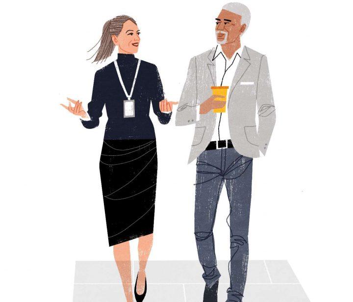 Illustration två personer pratar