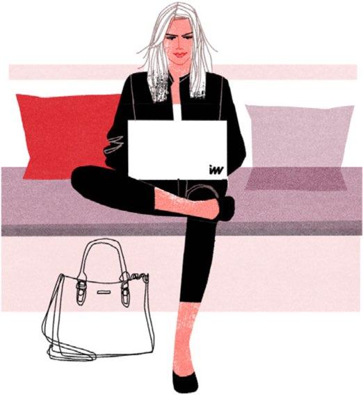 Illustrerad bild på tjej som jobbar i soffa